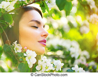 belle femme, pomme, nature, printemps, arbre, jeune, fleurir, sourire, apprécier