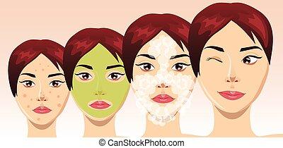 belle femme, processus, acné, figure, traitement, vecteur