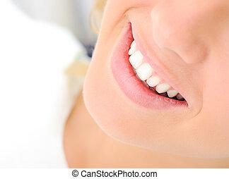 belle femme, sain, jeune, dents, sourire
