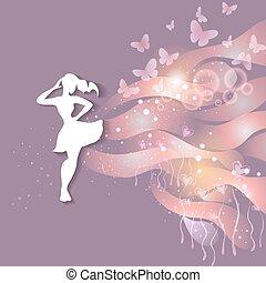 belle femme, silhouette, jeune