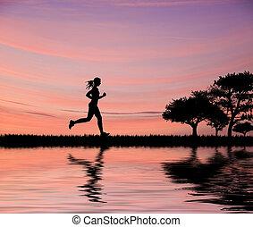 belle femme, silhouette, joggeur, champs, ciel, contre, courant, coucher soleil, par