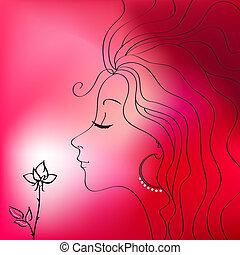belle femme, silhouette, vecteur
