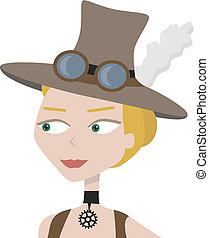 belle femme, steampunk, protrait, haut, victorien, fin