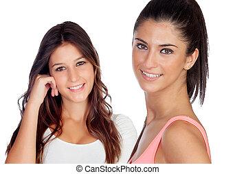belles filles, deux, désinvolte