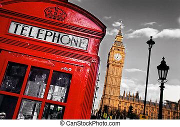 ben, grand, téléphone, angleterre, cabine, royaume-uni, londres, rouges
