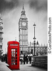 ben, grand, téléphone, angleterre, uk., cabine, londres, rouges
