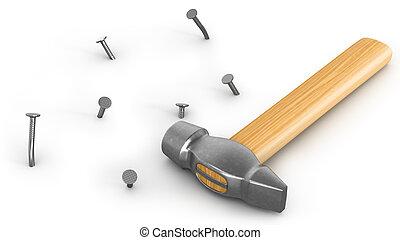 bended, clous, martelé, isolé, peu, marteau
