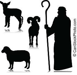 berger, silhouettes, vecteur
