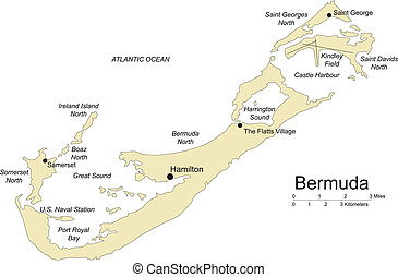 bermudes, île, commandant, villes, capital