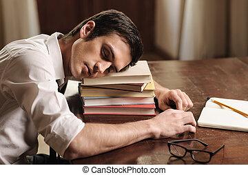 besoins, auteur, jeune, dormir, livre, break., beau, pile, il