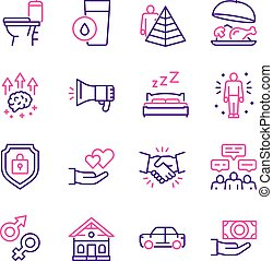 besoins, icône, hiérarchie, pyramide humaine, couleur, concept., set., linéaire, maslow