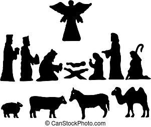 bethlehem., silhouette, étoile, nativité