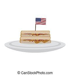 beurre, arachide, drapeau, sandwich, usa