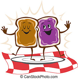 beurre, arachide, sandwich, gelée