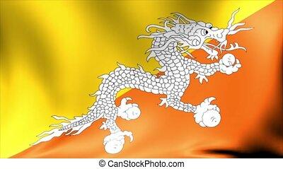 bhoutan, flag., animation., seamless, faire boucle, fond