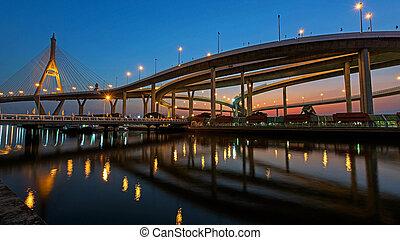 bhumibol, pont, scène, nuit