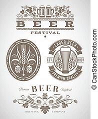 bière, étiquettes, emblèmes