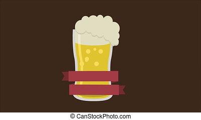 bière, animation, vidéo, verre