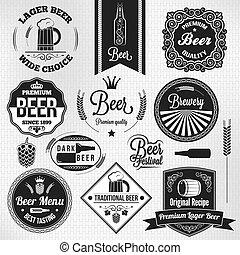 bière blonde, ensemble, bière, étiquettes, vendange