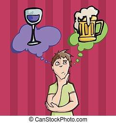 bière, choisir, entre, vin buvant, ou, homme