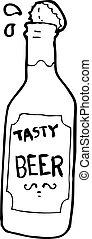 bière, dessin animé, bouteille