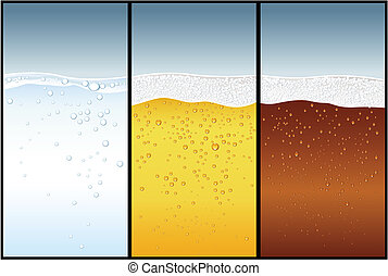 bière, eau, kola