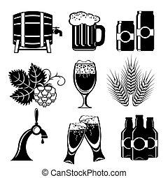 bière, icônes