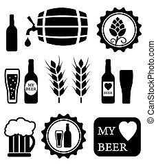 bière, objets, ensemble, isolé