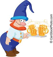 bière, plateau, nain