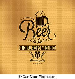 bière, vendange, fond, bière blonde