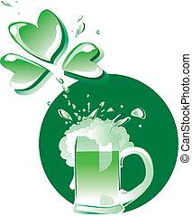 bière, vert, patrick's
