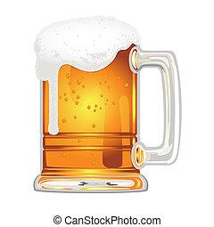 bière, vessie, grande tasse verre, blanc