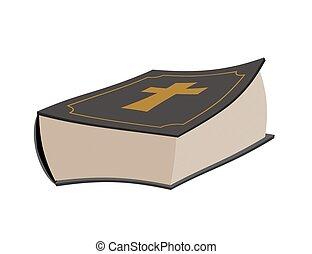 bible, psaumes, saint, isolated., croix, arrière-plan., livre, blanc