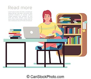bibliothèque, public, concept, étagères, conception, livre lecture, table, chaises, femme dame, jeune, library., vecteur, plat, intérieur