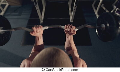 biceps, gymnase, musculaire, barre disques, exercice, homme