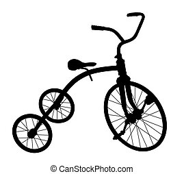 bicycle., enfants, silhouette