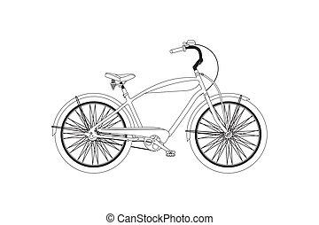 bicycle., vecteur, retro