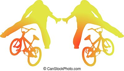bicycles, bmx, silhouettes