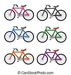 bicycles, ensemble, icône