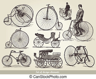bicycles, ensemble, vieux