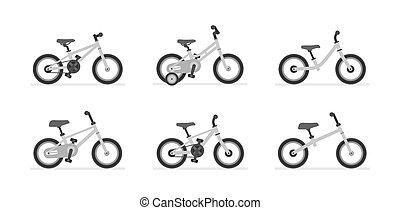 bicycles, gosses, ensemble, différent