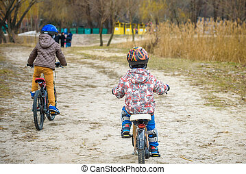 bicycles, parc, famille