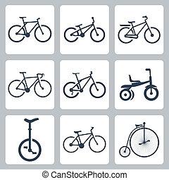 bicycles, vecteur, ensemble, isolé, icônes