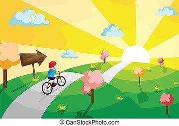 bicyclette voyageant, gosse