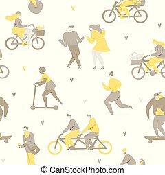 bicyclette voyageant, parc, gens
