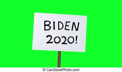 biden, joe, 2, tenu, vert, coups, haut, écran, signe, 2020