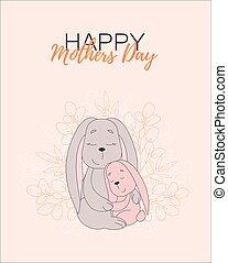 bien-aimé, mère, carte, jour, bébé, maman, mother., dehors, rabbits., lapin, hug., impression, coloration, bunnies., livre, peu