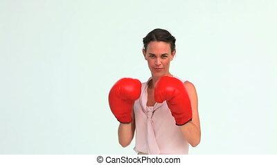 bien-habillé, femme, boxe