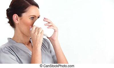 bien-habillé, femme, café, boire
