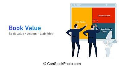 biens, valeur, liabilities, comptabilité, compagnie, analyse, livre, société